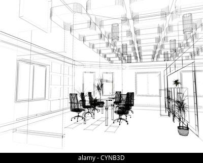 the modern office interior design sketch (3d render) - Stock Photo