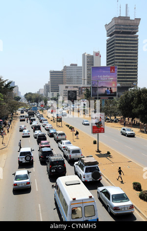 Cairo road, downtown Lusaka, capital of Zambia. Findeco house at right - Stock Photo