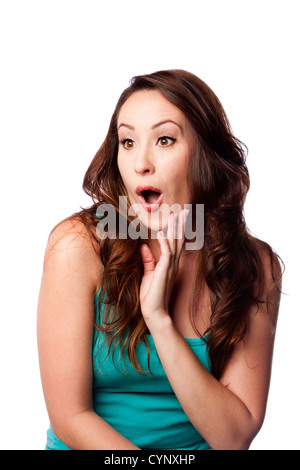 Facial expression of a Surprised shocked amazed young woman with hand on chin and long wavy brown hair, isolated. - Stock Photo