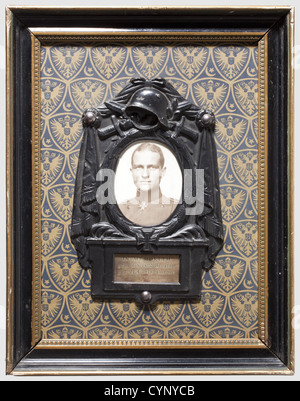 Manfred Freiherr von Richthofen - a commemoration frame, for the most victorious fighter pilot of the First World - Stock Photo