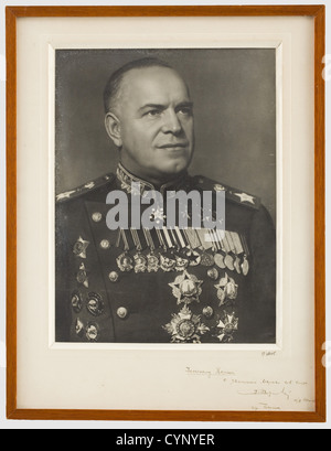 Marshal Georgy Konstantinovich Zhukov (1896 - 1974) - a photo with dedication to General Koenig, Portrait picture - Stock Photo