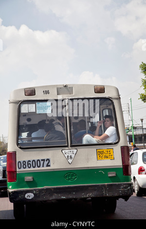Passenger on Bus in Mexico City DF - Stock Photo