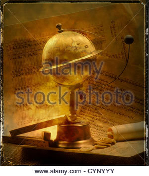 Antique globe with moon on stand - Stock Photo