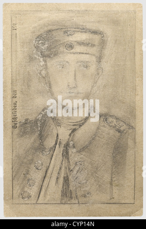 Anny Winter/Adolf Hitler - a portrait of his comrade Ernst Schmidt 1916, Drawn in pencil on a field postcard the - Stock Photo