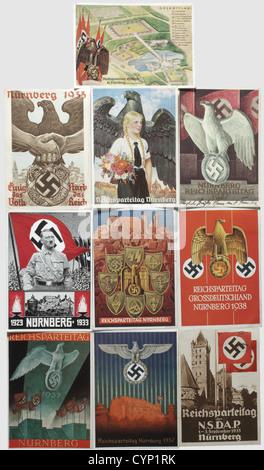 Ca. 60 propaganda postcards on the Nuremberg Rallies 1933 - 1939, Views of the city of Nuremberg, photographs of - Stock Photo