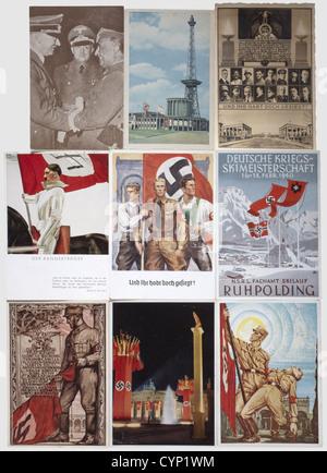 Circa 140 propaganda postcards on Adolf Hitler and the NSDAP, Interesting postcards: standard bearers, the parents - Stock Photo