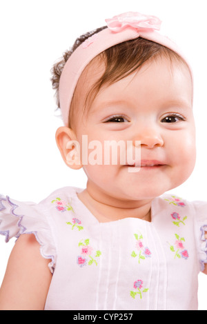Baby girl in age eight month isolated on white - Stock Photo