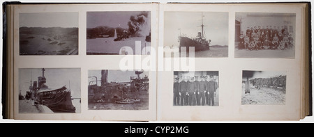 A photo album of a member of the III. Sea Battalion, in Tsingtao, Pioneer Company around 1909. Chinese lacquer album, - Stock Photo
