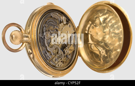 A pocket watch, presented to A. Hossein, Gold savonette with minute repetition and chronograph. The exterior of - Stock Photo
