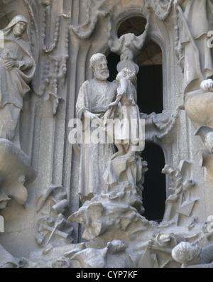 Spain. Catalonia. Barcelona. Basilica and Expiatory Church of the Holy Family. St. Joseph and baby Jesus by Lawrence - Stock Photo