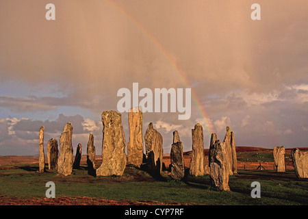 UK Scotland Outer Hebrides Isle of Lewis Callanish Standing Stones rainbow - Stock Photo