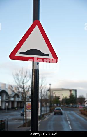 A 'Speed Bump/hump' sign, UK - Stock Photo