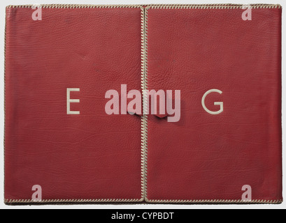 Emmy Göring - a leather writing case, Red Morocco leather with white plaited leather edging. Two large handle loops - Stock Photo