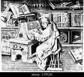 Monk Preparing Manuscript - Stock Photo