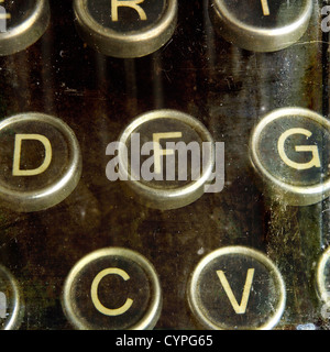 Close up of old fashioned typewriter keys - Stock Photo
