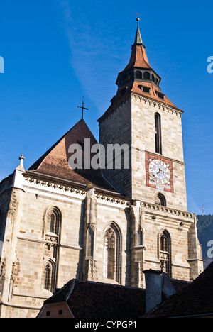 Aerial view of the Black Church, in Brasov - Stock Photo