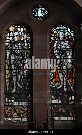 Memorial window, All Saints Church, Glasgow, to Sec Lt Charles Peck, Sixth Royal Scots Fusiliers who died at Loos, - Stock Photo