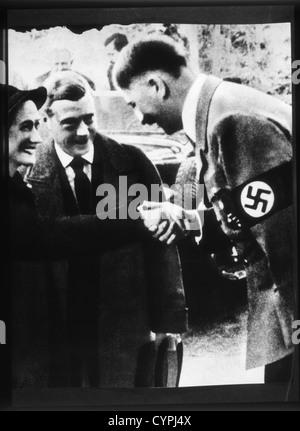 Adolf Hitler Greeting the Duke and Duchess of Windsor, 1937 - Stock Photo