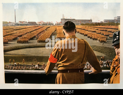 Adolf Hitler Addressing Rally of SA Troops, Dortmund, Germany, 1933 - Stock Photo