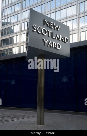 Famous spinning / rotating sign in front / outside of New Scotland Yard Metropolitan Met Police 's HQ / Head quarters. - Stock Photo