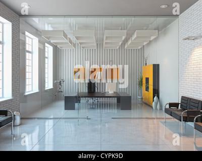 modern interior design of office room (3D render) - Stock Photo
