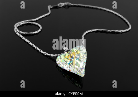 Fashion necklace on black background - Stock Photo