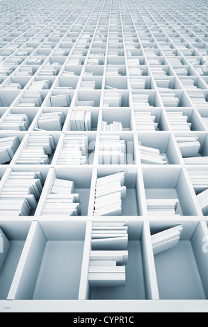 endless white shelves (illustrated concept) - Stock Photo