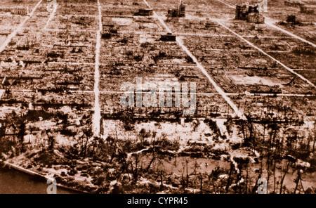 Ruins of Hiroshima, Japan after Atomic Bomb, World War II, 1945 - Stock Photo