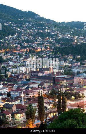 Dusk view of Sarajevo, the capital city of Bosnia and Herzegovina. - Stock Photo