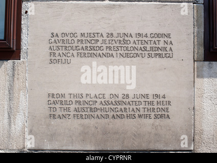 Plaque marking where Gavrilo Princip assassinated Archduke Franz Ferdinand and his wife Sofia in Sarajevo on 28 - Stock Photo