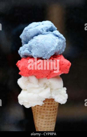 Red, white and blue ice cream in cone - Stock Photo