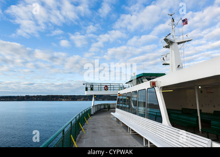 Washington State Ferry on Puget Sound between Edmonds and Kingston in the early morning, Washington, USA - Stock Photo