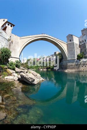 The Stari Most 'Old Bridge' and Neretva River in Mostar in Bosnia-Herzegovina. - Stock Photo