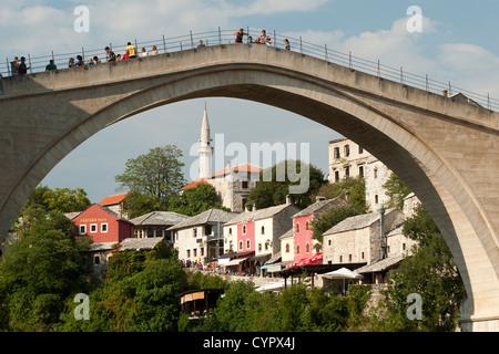 The Stari Most 'Old Bridge' in Mostar in Bosnia Herzegovina. - Stock Photo