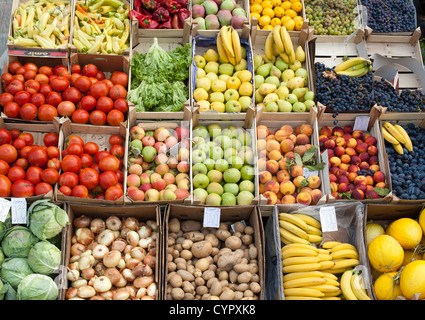 Fruit and veg for sale in Pristina, the capital of the Republic of Kosovo. - Stock Photo