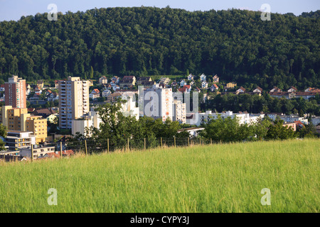 Tall buildings in between green field and trees in Baden, Switzerland - Stock Photo