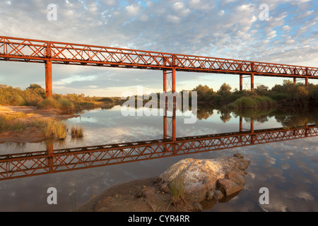 Algebuckina Bridge over Neales River on the Old Ghan Railway on the Oodnadatta Track in outback South Australia - Stock Photo