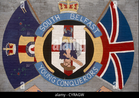 A loyalist wall mural in a protestant area of Belfast showing a Viking as conquering hero by the Ulster Volunteer - Stock Photo