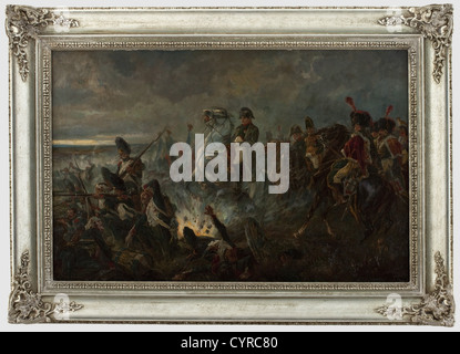 Emil Klein (1865 - 1943), Napoleon I on horseback among his soldiers Oil painting on wood, signed barely legible - Stock Photo