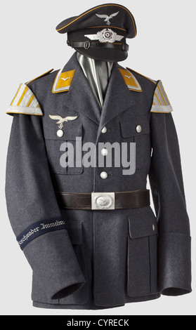 A uniform ensemble for a musician, in the band of the dive bomber wing 'Immelmann' Visor cap made of Luftwaffe-blue - Stock Photo