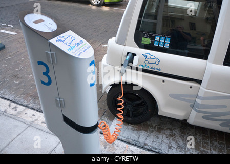 Electric Car re-charging point in Nice, France - Stock Photo