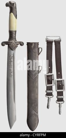 A model 37 RAD leader's dagger (Reichs Labour Service), complete with hanger The blade etched with the motto 'Arbeit - Stock Photo