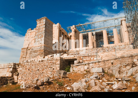 Ruins of an ancient gateway under renovation, Propylaea, Acropolis, Athens, Greece - Stock Photo