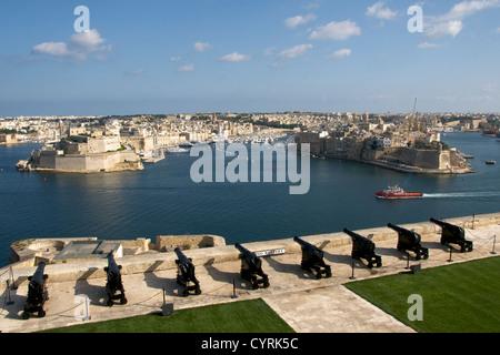 Saluting battery and Grand Harbour Valletta Malta - Stock Photo