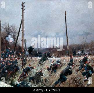 Fighting on the Tracks 1874 by Neuville, Alphonse Marie de 1835-85 combat sur la Voie Ferree France French  France - Stock Photo