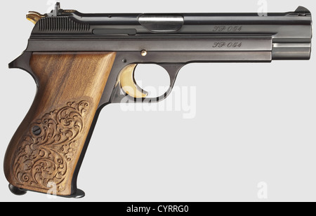 Commemorative pistol JP 210, 1978, in its case, cal. 9 mm Parabellum, no. JP 054. Matching numbers. Bright bore. - Stock Photo