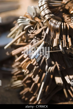 Close-up of rusty keys in a hardware store, New Delhi, India - Stock Photo