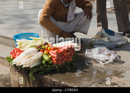 Vendor selling vegetable in a street, New Delhi, India - Stock Photo