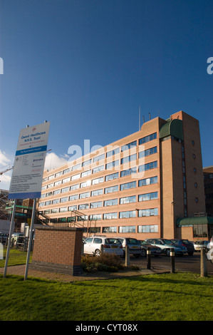 Exterior of Royal Gwent Hospital South Wales with Gwent Healthcare NHS Trust sign board - Stock Photo