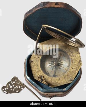 A German equatorial sundial, Augsburg, J. G. Vogler ca. 1750/60 Octagonal sundial of fire gilt brass with finely - Stock Photo